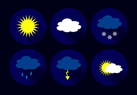 storm rain: Vector weather flat icons - sun, clouds, snow flakes, flash, storm, rain. Illustration