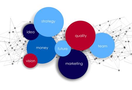 infografía de visita del vector con las burbujas círculo / misión, la visión, la estrategia de futuro y el motivo o tema en fondo oscuro