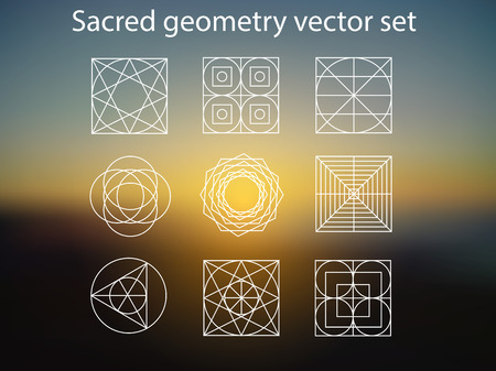 new age: Sacred geometry. Vector set of religion, alchemy, philosophy, spirituality, hipster and new age symbols and elements. Magic sunshine background. Illustration