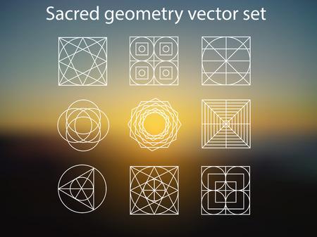 Sacred geometry. Vector set of religion, alchemy, philosophy, spirituality, hipster and new age symbols and elements. Magic sunshine background. Illustration