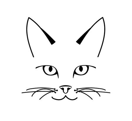 Vector cute cat face design on white background, Vector illustration. Pet Illustration