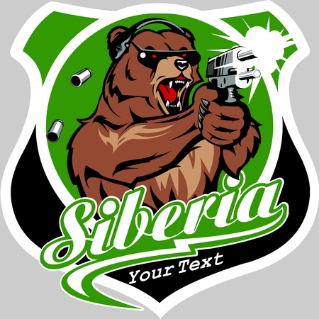 Angry Bear with Gun Logo