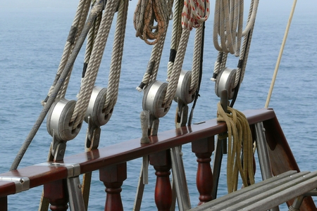 schooner: Detail of ropes and a schooner riggings Stock Photo