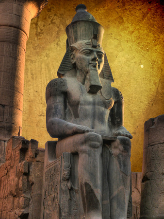 luxor: Colossus of Ramses II (made in black granite) in the Luxor Temple (Egypt)