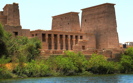 Panoramic view of temple complex at Philae island currently on the small island of Agilkia (Egypt) photo