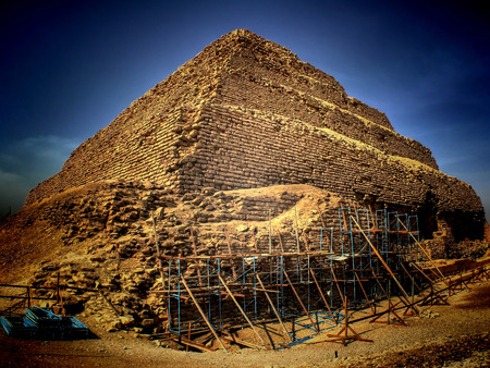 djoser: Panoramic view of the step pyramid of Djoser at Saqqara in process of restoration (Egypt)