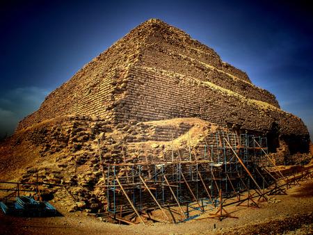 djoser: Panoramic view of the step pyramid of Djoser at Saqqara in process of restoration (Egypt)