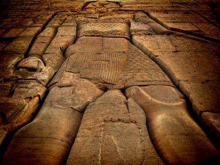 bas relief: D�tails de faible relief du temple de Kom Ombo-(Egypte) Banque d'images