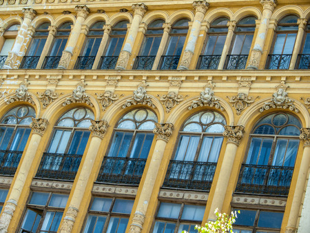 bourgeoisie: Art Nouveau style facade building detail on an avenue of Valladolid (Spain) Stock Photo