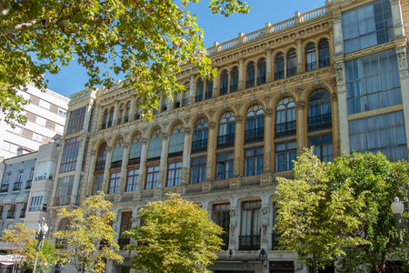 bourgeoisie: Art Nouveau style facade building on an avenue of Valladolid (Spain)