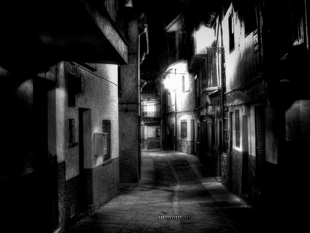 night vision: Night vision from a alley of Extremadura village (Spain)