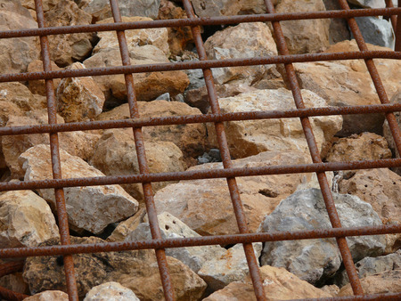 gabion mesh: Close-up detail of a gabion wall