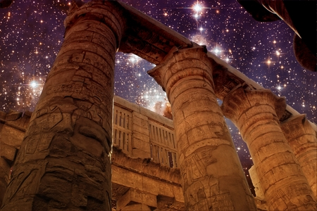 Photo-montage of Karnak Hypostyle hall and Star Forming Region LH95 photo