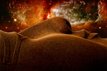 photomontage: Photo-montage of Ramses II colossus face and the Star forming region S106