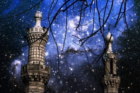 photomontage: Photo-montage of Cairo minarets end infant stars in the small Magellanic Cloud (Elements of this image furnished by NASA)
