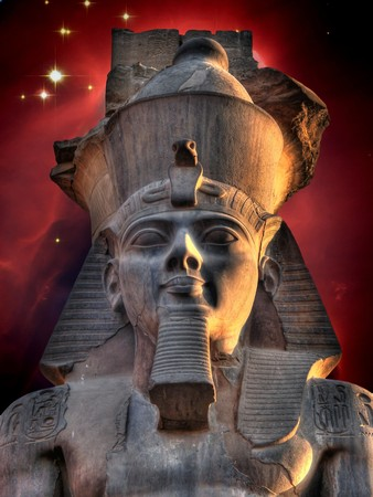 photomontage: Photo-montage of Ramses II Colossus at Luxor and Cone Nebula