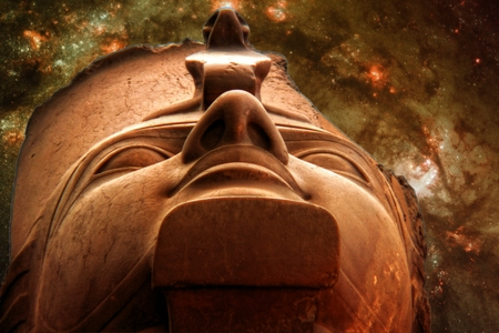 cosmology: Photo-montage of Ramses II Colossus and a stars birth section in Galaxy M83