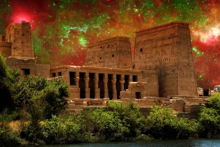 Photo-montage of Isis Temple at Philae island and a region of the Galactic Center photo
