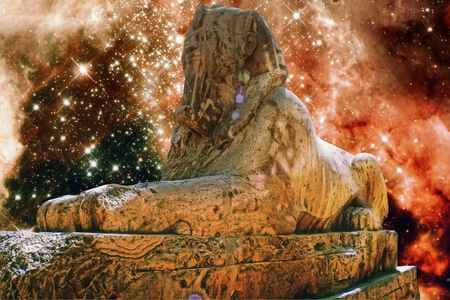 photomontage: Photo-montage of the Alabaster Sphinx at Memphis and a section of the Tarantula Nebula Stock Photo