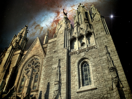photomontage: Photo-montage of Expiatory Temple of the Sacred Heart (Barcelona) and the Cigar Galaxy