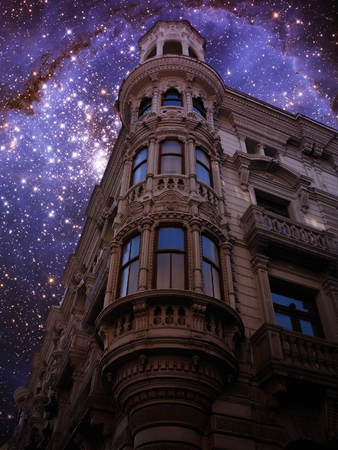 cosmology: Photo-montage of nodernist building and young stars in the Small Magellanic Cloud  Stock Photo