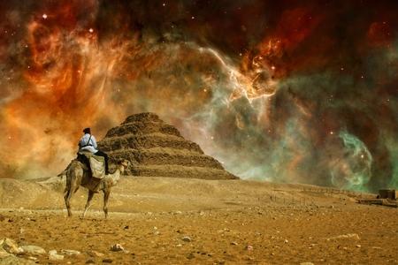 djoser: Photo-montage of Step pyramid of Djoser at Saqqara and Great Carina Nebula