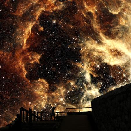 Photo-montage with the Tarantula Nebula background