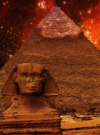 photomontage: Photo-montage of Great Sphinx of Giza, Pyramid of Khafre and small Magellanic Cloud (Elements of this image furnished by NASA)