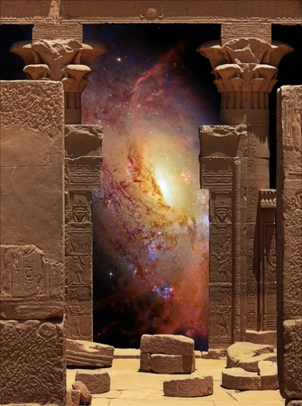 queen: Photo-montage of Hathor Temple on Agilkia island (Philae) and Galaxy M106