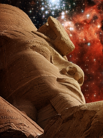 cosmology: Photo-montage of a Ramses II statue at Abu-Simbel and Star Cluster Bursts NGC3603 (Elements of this image furnished by NASA) Stock Photo