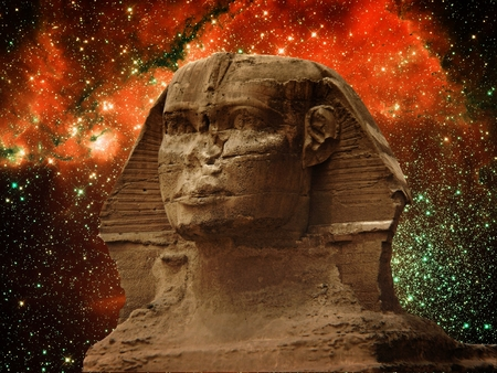 photomontage: Photo-montage of Great Sphinx of Giza and small Magellanic Cloud (Elements of this image furnished by NASA)