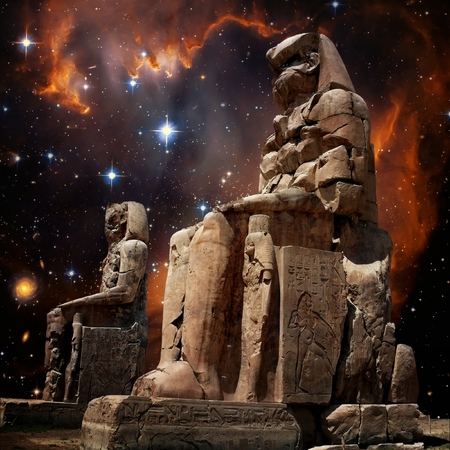 Colossus of Memnon representing Amenhotep III and Small Magellanic Cloud background (Elements of this image furnished by NASA)