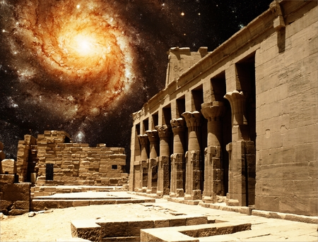 fantasy art: Photo-montage of colonnade entrance to the Temple of Isis at Philae island and Pinwheel Galaxy M101  Stock Photo