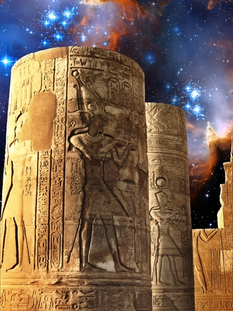 cosmology: Photo-montage of columns of the Kom-Ombo Temple and infant stars in Small Magellanic Cloud  Stock Photo