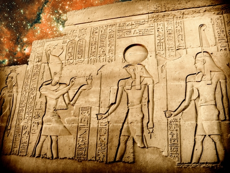 photomontage: Photo-montage of bas-relief of Sobek temple at Kom-Ombo and small Magellanic Cloud background (Elements of this image furnished by NASA)