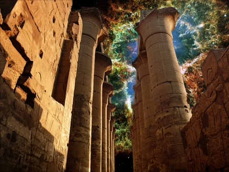 egyptology: Photo-montage of colonnade in the Luxor Temple and the Crab Nebula background