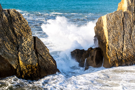 breaking in: Detail of waves breaking in cantabrian coast Stock Photo