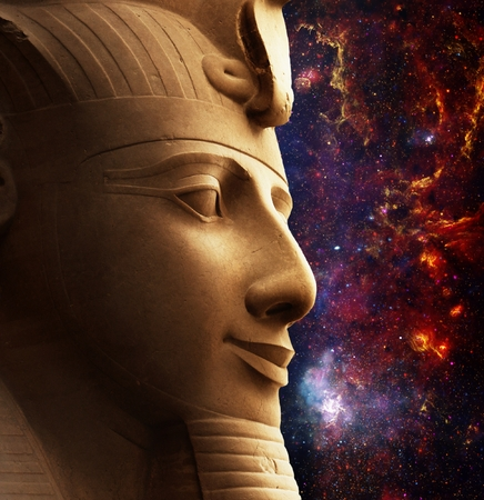 galactic center: Photo-montage of Ramses II colossus face and Galactic Center Region (Elements of this image furnished by NASA) Stock Photo