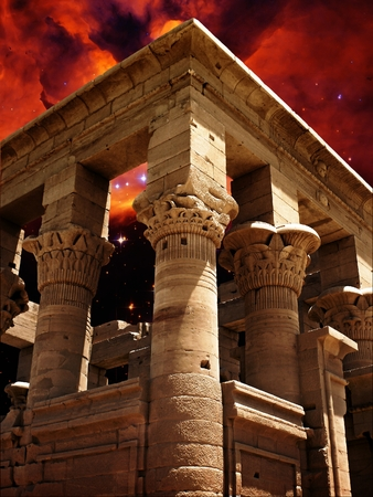 photomontage: Photo-montage of Trajan Kiosk at Agilkia island and Nebula in the constellation Scorpius (Elements of this image furnished by NASA) Stock Photo