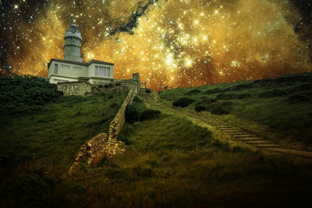photomontage: Photo-montage of Santander Lighthouse and small Magellanic Cloud