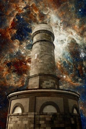 photomontage: Photo-montage of Santander Lighthouse and the Tarantula Nebula background (Elements of this image furnished by NASA)