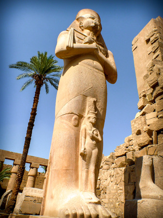 divinity: Perspective view of Pinedjem I statue in the Temple of Amun in Karnak (Egypt)