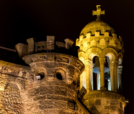 tibidabo: Night photo and tower detail of Expiatory Temple of the Sacred Heart (Barcelona)