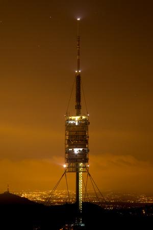 tibidabo: Night photo of Communications tower of Collserola (Barcelona)