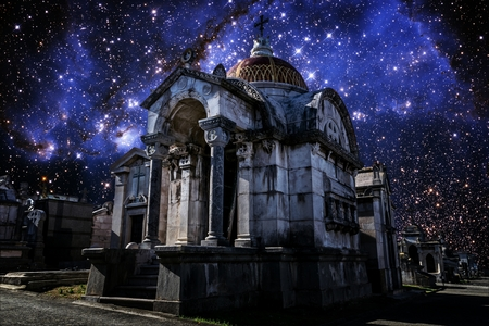 photomontage: Photo-montage of an old pantheon in a cemetery under the stars of the Small Magellanic Cloud (Elements of this image furnished by NASA)