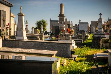 tumbas: Detalle de tumbas y lápidas en el cementerio