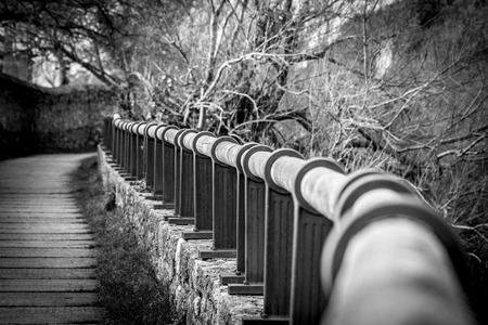 handrail: Handrail in perspective on a winding road