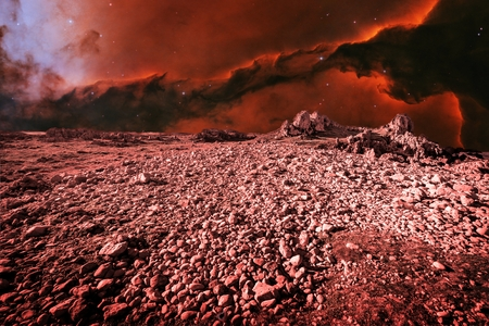 alien landscape: Photo-montage simulating an alien landscape and Eagle Nebula as background (Elements of this image furnished by NASA)
