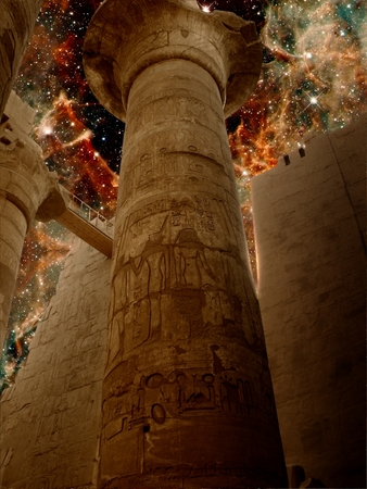 photomontage: Photo-montage of columns in the Karnak temple and Effects of Massive Stars in 30 Doradus as background Elements of this image furnished by NASA Stock Photo