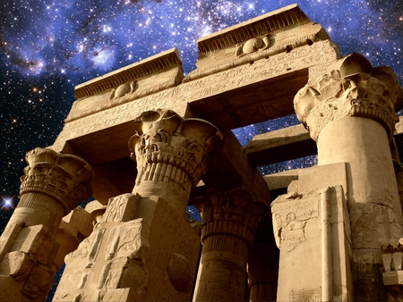 photomontage: Photo-montage of Kom-Ombo temple and Small Magellanic Cloud as background Elements of this image furnished by NASA